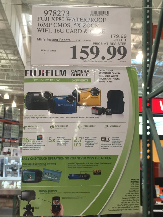 Fuji XP80 Waterproof Camera Bundle at Costco