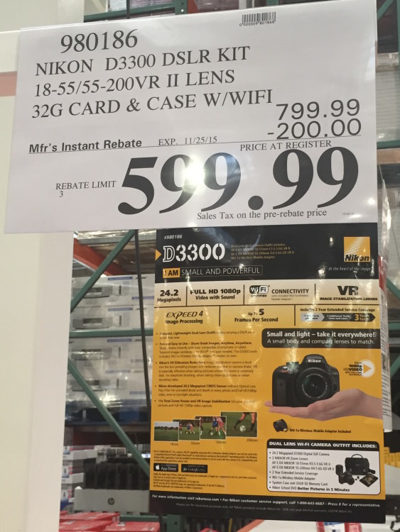 Nikon D3300 DSLR Kit with 18-55mm VR II & 55-200mm VR II Lens at Costco
