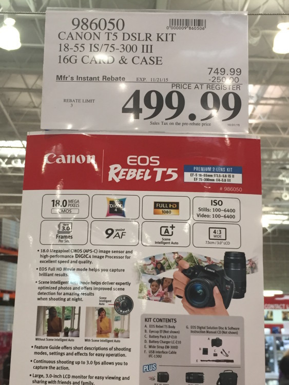 Canon T5 DSLR Kit with 18-55mm IS & 75-300mm III Lens at Costco