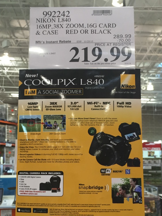 Nikon L840 Digital Camera Bundle at Costco