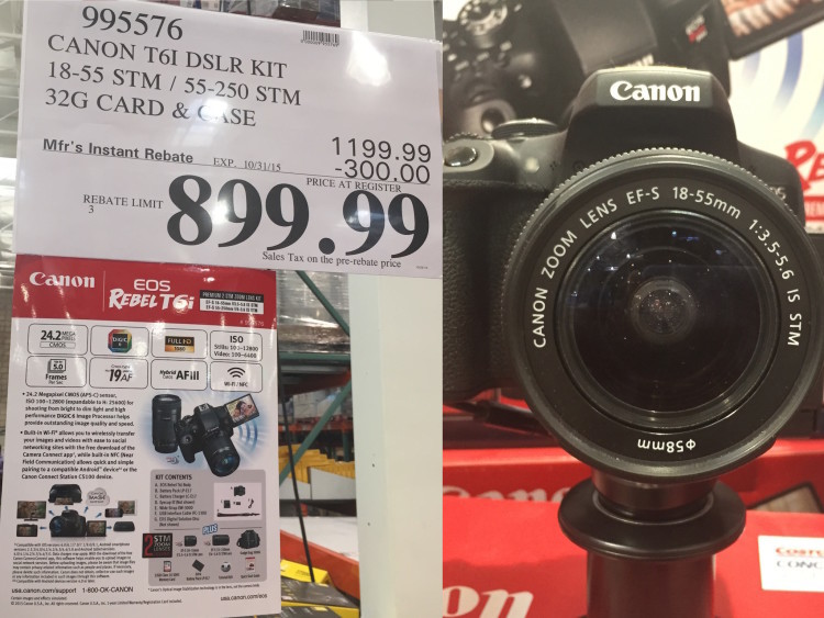 Canon T6i DSLR Kit with 18-55mm STM & 55-250mm STM Lens at Costco