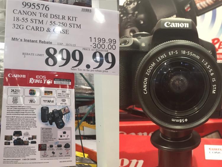 Canon T6i DSLR Kit with 18-55mm STM & 55-250mm STM Lens at Costco