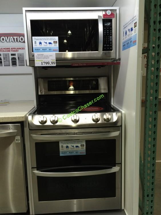 LG 2PC Stainless Steel Cooking Pair: ELECTRIC Double Oven Range with Microwave Oven