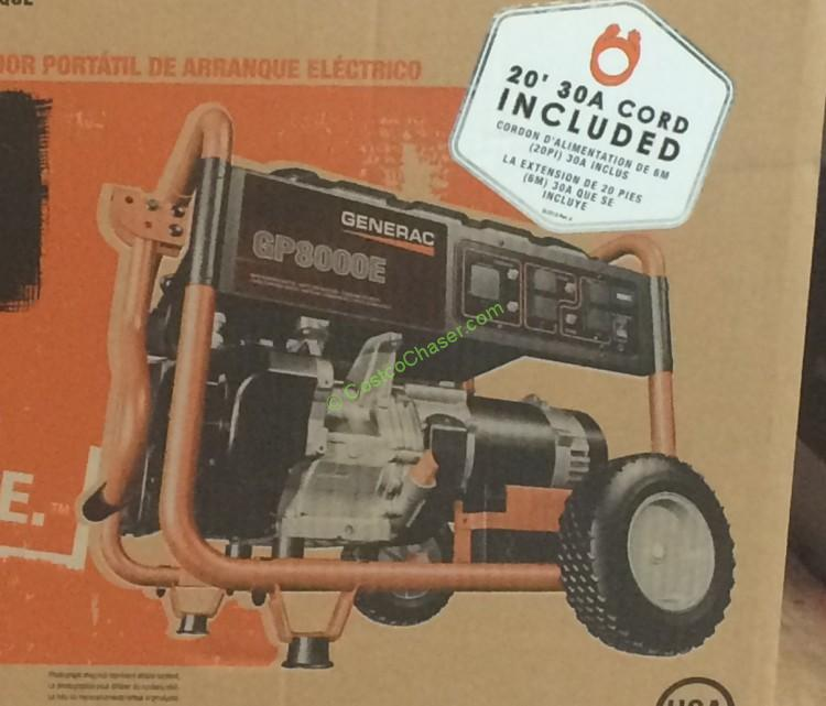 Generac Portable Gas Generator 8000 Running Watts