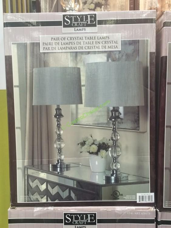 Stylecraft Crystal 2 Pack Table Lamp Set Costcochaser
