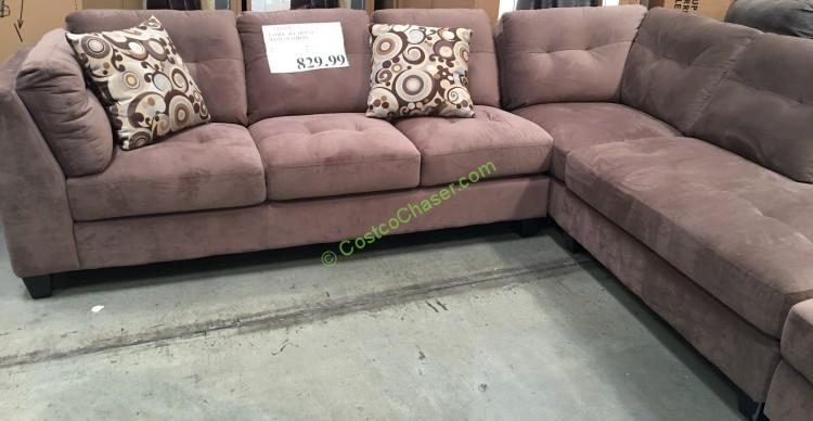 3-Piece Fabric Sectional With Ottoman