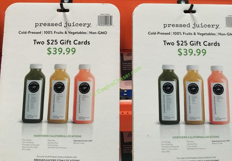 Two $25 Pressed Juicery Discount Gift Cards