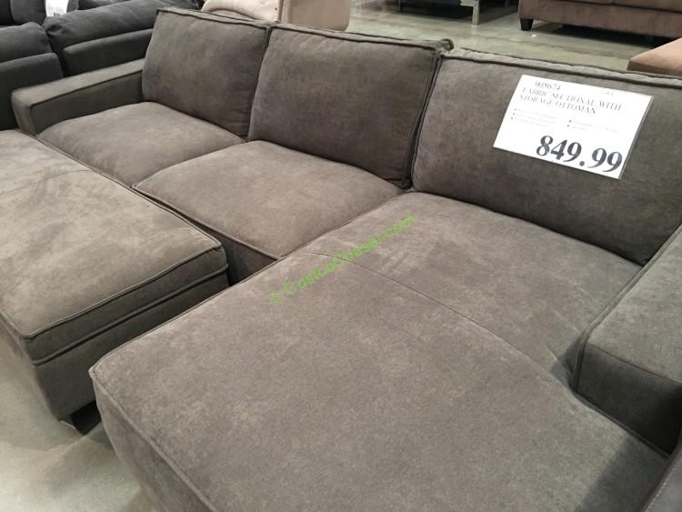 Costco 905674 Fabric Sectional With Storage Ottoman 1