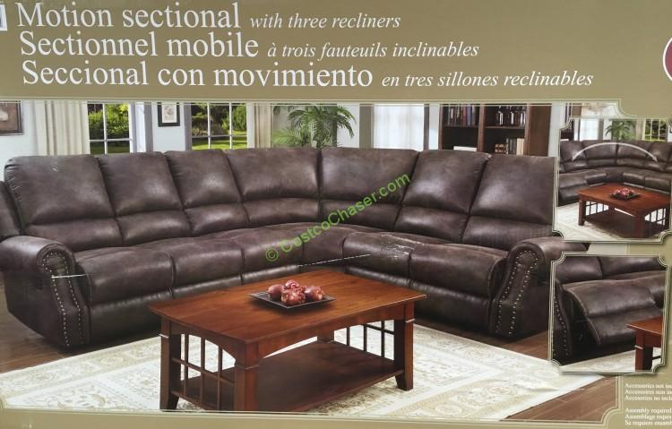 Fabric Motion Sectional With 3 Recliners