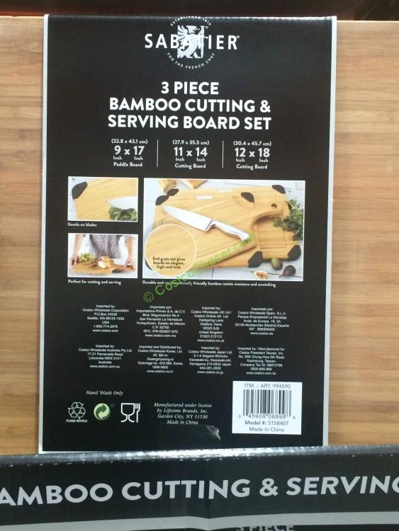 Sabatier 3 Piece Bamboo Cutting & Serving Board Set
