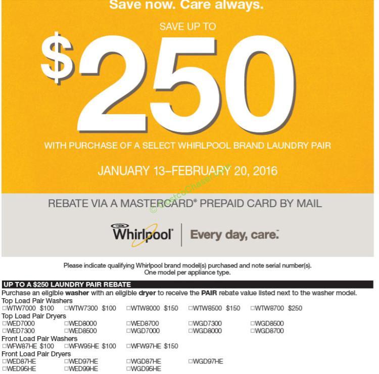 Costco Whirlpool Laundry Pair Rebate