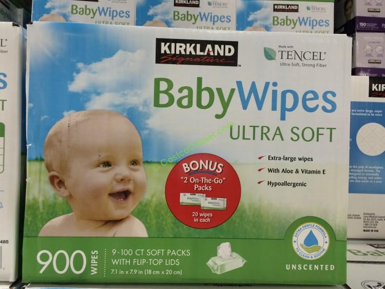 100 Count Wipes Pack of 6 Ultra-Soft Kirkland Signature Baby Wipes Unscented