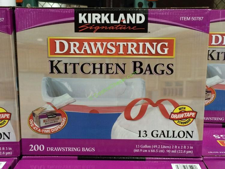 Kirkland Signature 13 Gallon White Drawstring Kitchen Bag 200 Count