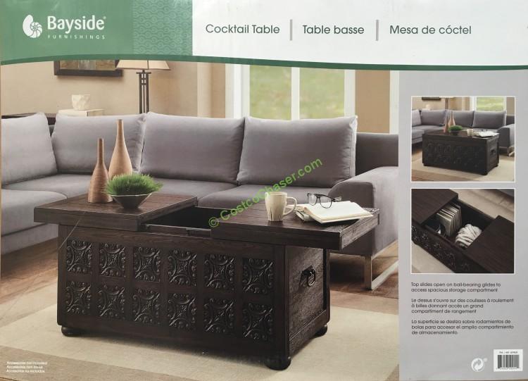 Costco 609828 Bayside Furnishings Storage Coffee Table With Sliding Top Box