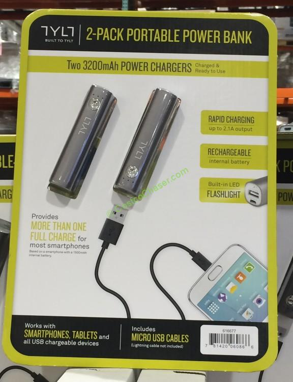 TYLT 3,200mAh Portable Cell Phone and Tablet Charger 2-Pack