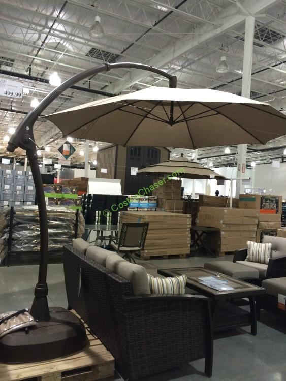 costco-853331-11-Cantilever-Patio-Umbrella-with-base- - Proshade 11′ Parasol Cantilever Umbrella €� CostcoChaser