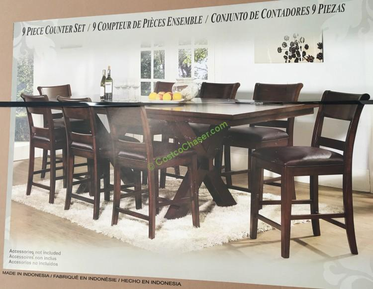 Charming Costco 908754 Hillsdale Furniture Counter Height Dining Set 9pc Box