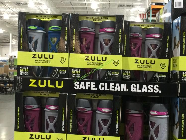 Zulu 2pk 20oz Glass Water Bottle Costcochaser