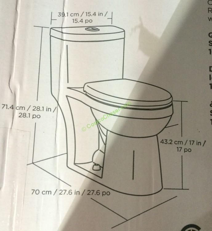 Costco 918020 Waterridge One Piece Elongated Dual Flush Toilet Chart