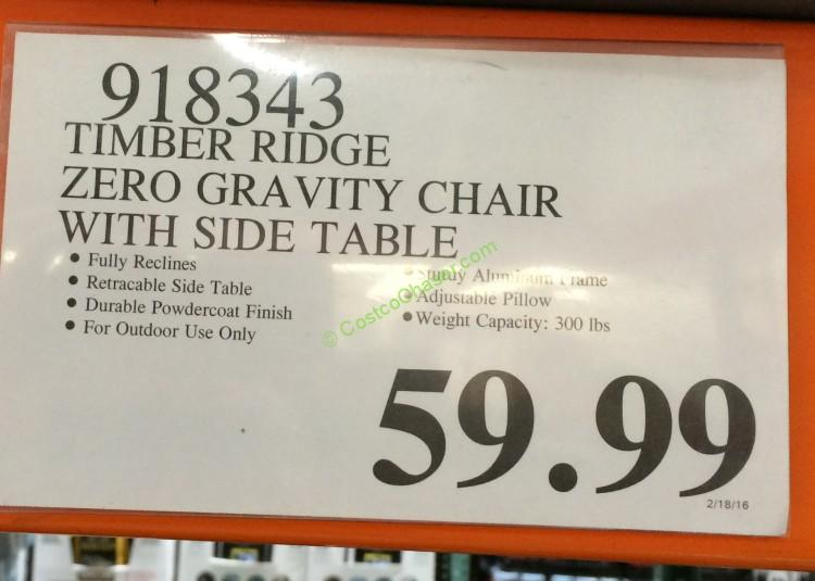 Costco 918343 Timber Ridge Zero Gravity Chair With Side Table Tag