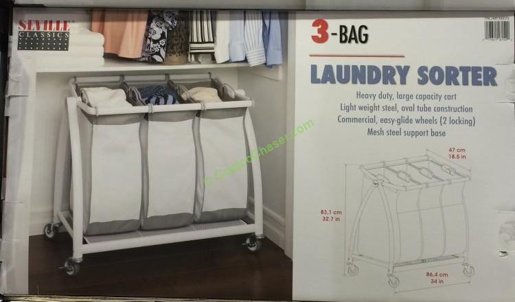 Costco 920172 Seville Classic 3bag Laundry Sorter All