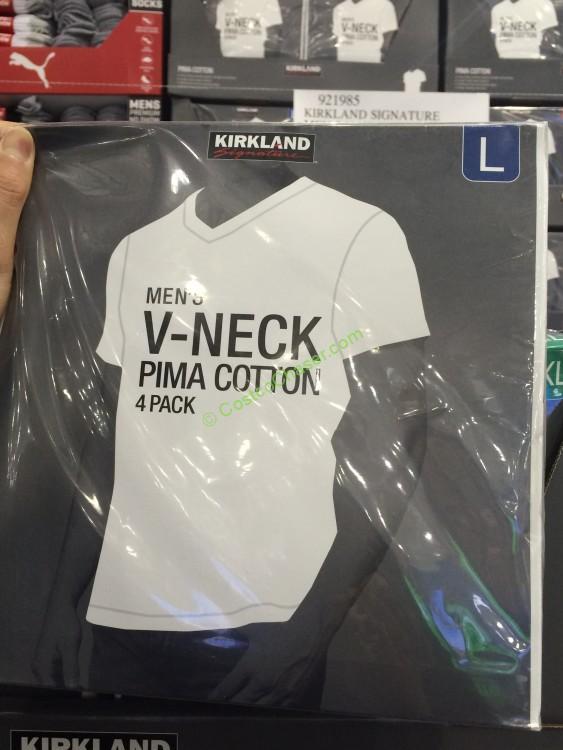 Kirkland Signature Men's V-Neck Tee Pima Cotton 4 Pack White