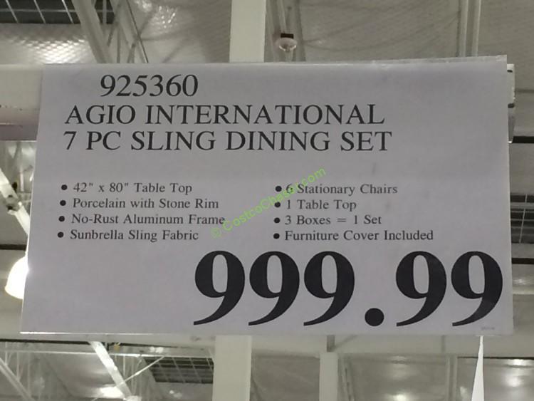 Agio International 7 Pc Sling Dining Set Costcochaser
