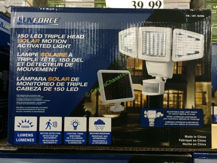 sunforce 150 led solar motion security light costcochaser. Black Bedroom Furniture Sets. Home Design Ideas