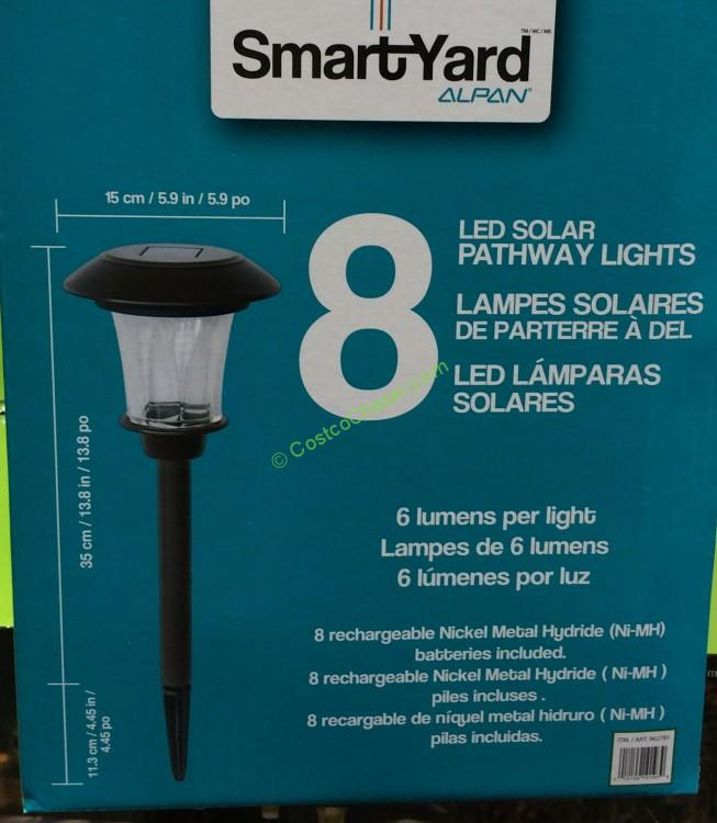 costco-962781-Smartyard-Solar-LED-13.8-H-Pathway-Lights-8-pack-spec