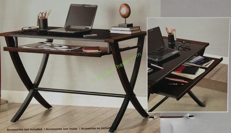 """Bayside Furnishings 48"""" Office Desk with Slide Out Tray"""