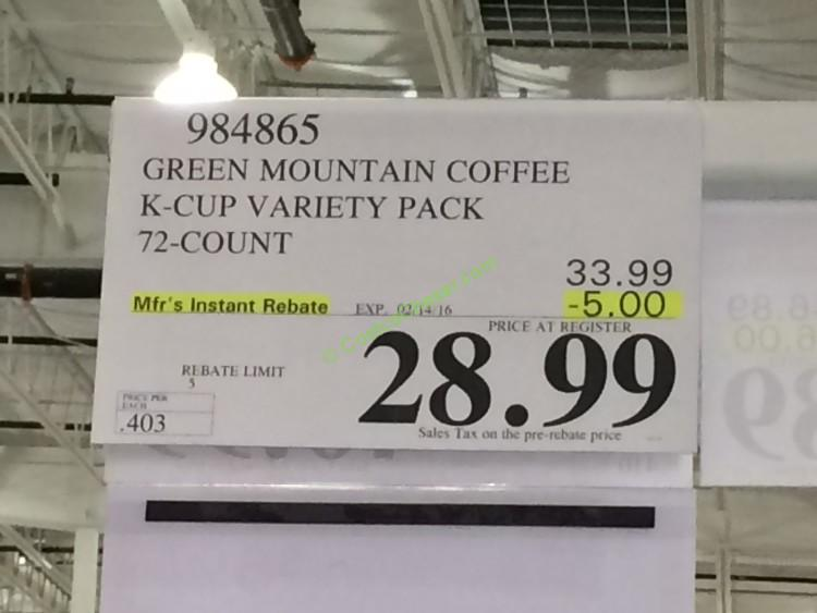 Green Mountain Coffee K Cup Variety Pack 72 Count