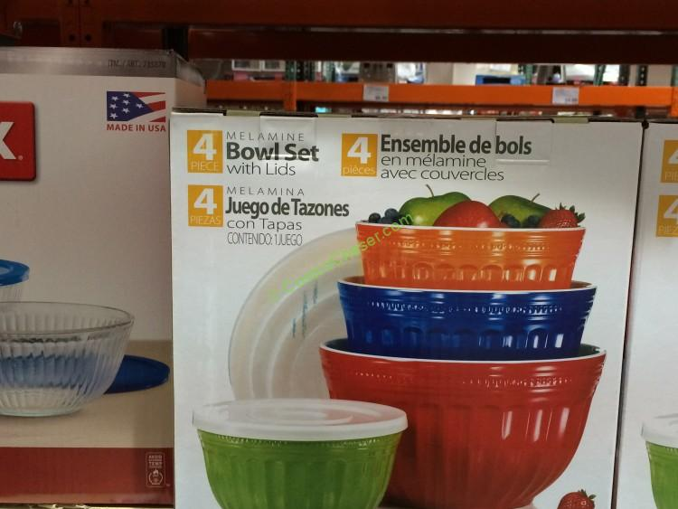 Pandex Melamine Mixing Bowl Set - 4 Bowls and 4 Lids