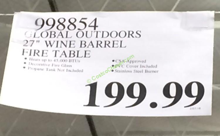 Costco 998854 Global Outdoors 27 Wine Barrel Fire