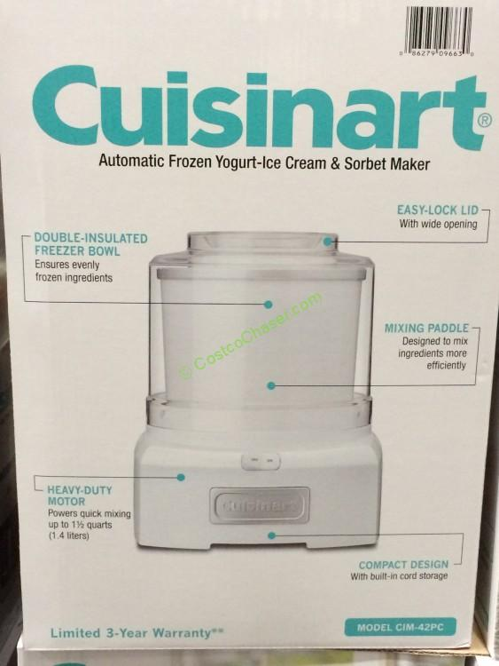 Cuisinart 1 5 Quart Ice Cream Maker Model Cim 42pc