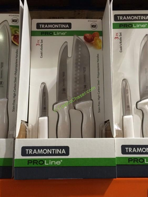 "Tramontina 3PK Knife Set with 6"" Util 3"" Paring + 7"" Santoku"
