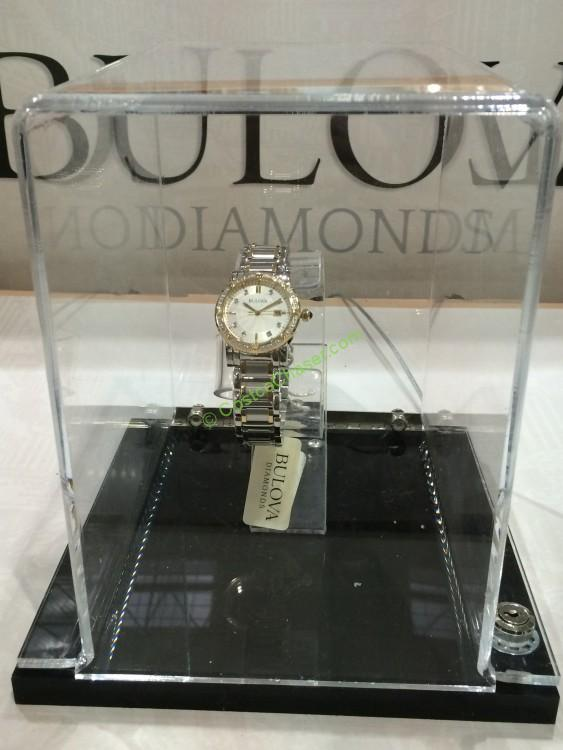 Bulova Stainless Steel Ladies Diamond Bezel Watch