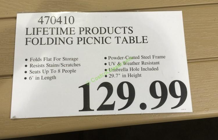 Costco 470410 Lifetime Products Folding Picnic Table Tag