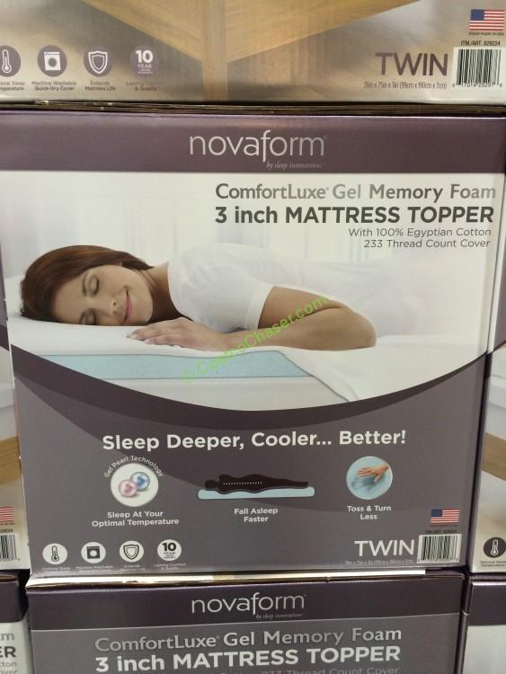 """novaform comfortluxe gel memory foam mattress topper Novaform Comfortluxe 3"""" Memory Foam Mattress Topper – Twin  novaform comfortluxe gel memory foam mattress topper"""