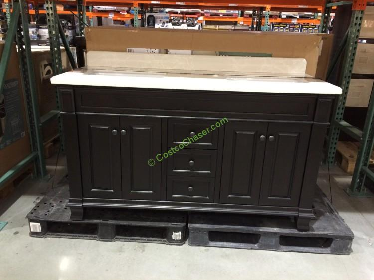 Lanza 60 double sink wood vanity costcochaser for Costco bathroom vanities canada