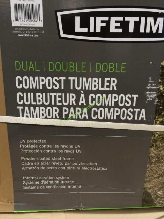 Costco 965452 Lifetime Dual Compost Tumbler Two 50 Gallon Drums Spec