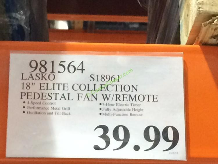 Lasko S18961 18 Elite Collection Pedestal Fan With Remote