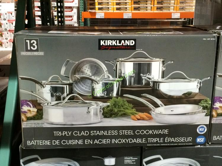 Kirkland Signature 13-PC Stainless Steel Tri-Ply Clad Cookware