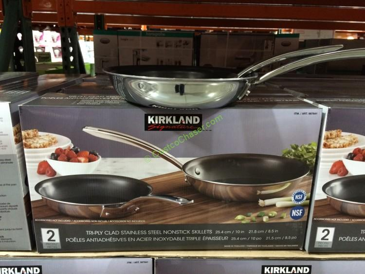 Kirkland Signature 2PK Stainless Steel Tri-Ply Clad Skillets
