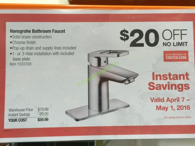 Costco 1033338 Hansgrohe Logis Loop Chrome Bath Faucet Coupon