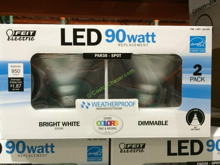 Feit Electric PAR38 LED Bright White, Dimmable, Weatherproof, 90 Watt (2 pack)