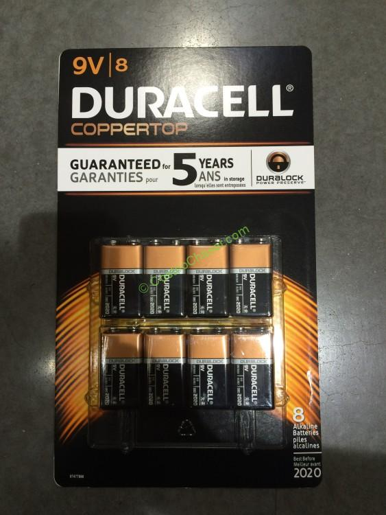 Duracell Coppertop 9V Alkaline Batteries 8 CT