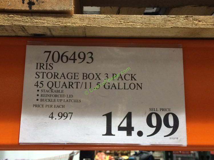 Iris Storage Box 3 Pack 45 Quart 11 5 Gallon Costcochaser