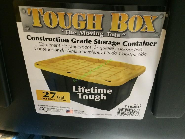 Centrex Plastics 27 Gallon Storage Bin Tough/Durable Plastic Black with Yellow Lid