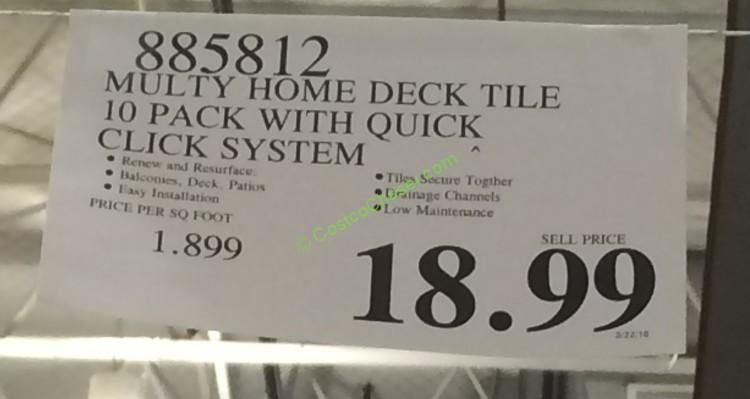 Costco 885812 Multy Home Deck Tile 10pack Tag Costcochaser