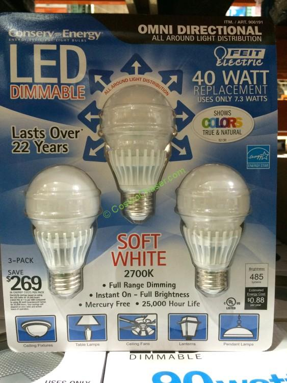Feit Dimmable LED Light Bulb 40 Watt Replacement 3 Pack